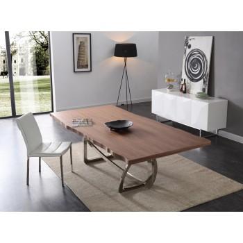 modern dining table modrest addy modern walnut u0026 stainless steel dining table QBZEZSU