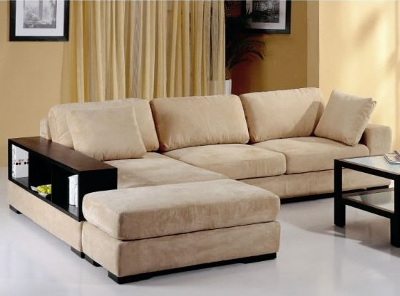 modern fabric sectional sofa bed with book case sahari coduroy sectional  beige ODKPLEG
