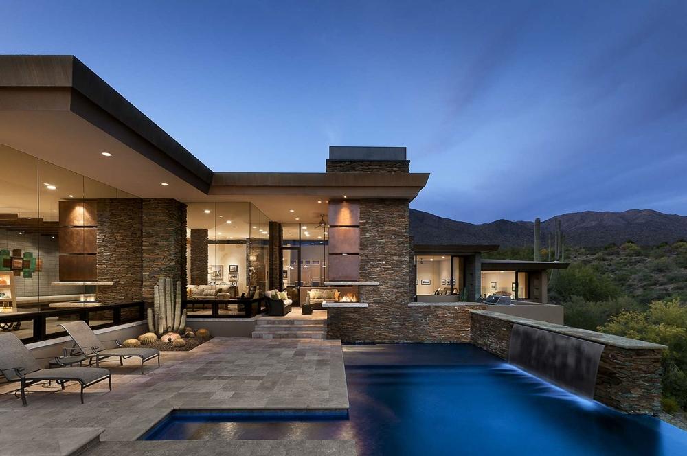modern house modern home with stone facade LJIFUOC