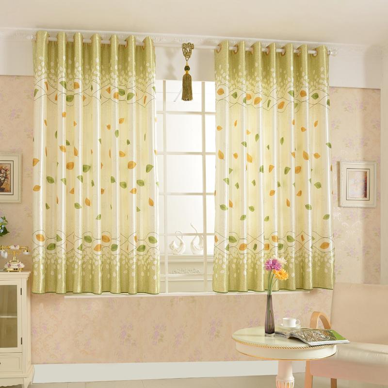 modern minimalist country style leaf pattern bay window curtain YVRBDFX