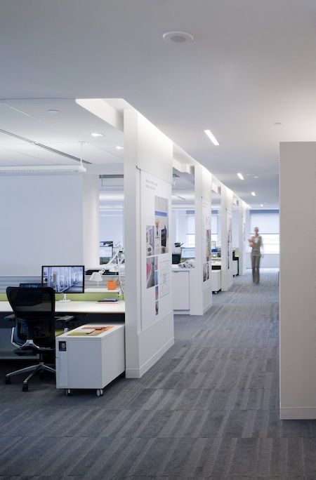 modern office great lighting and walls add privacy to the workspace YGMPKTI