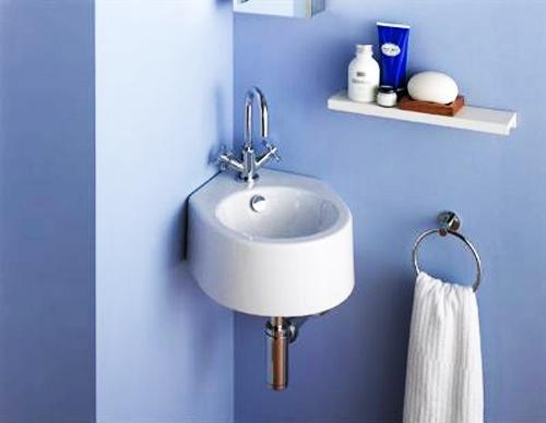 modern small bathroom sink and wall shelf EMYJIRP