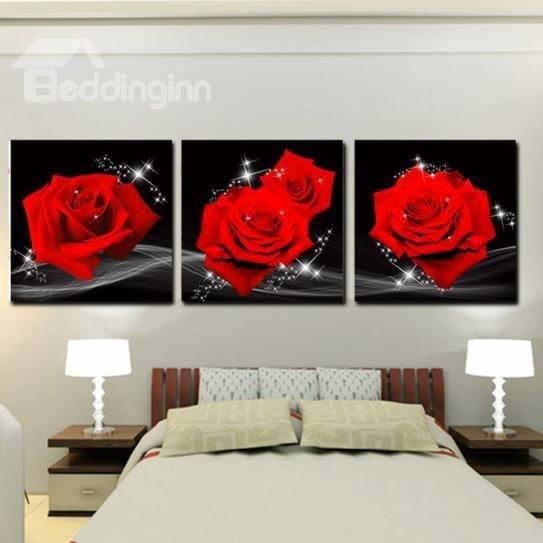 modern wall art 60 amazing red roses print 3-piece cross film wall art prints GNGUFUQ