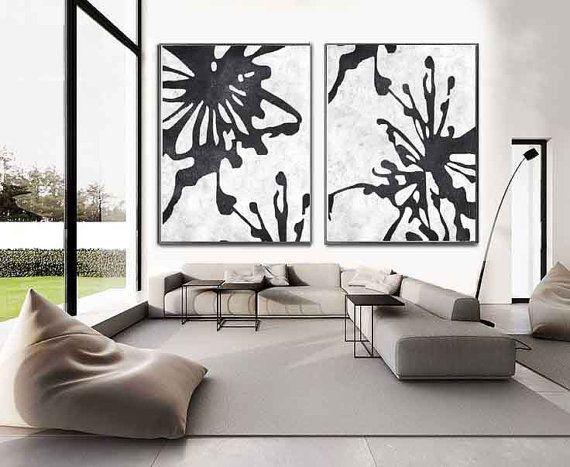 modern wall art set of 2 minimalist art on canvas, hand painted black and white flower EZSRXFK