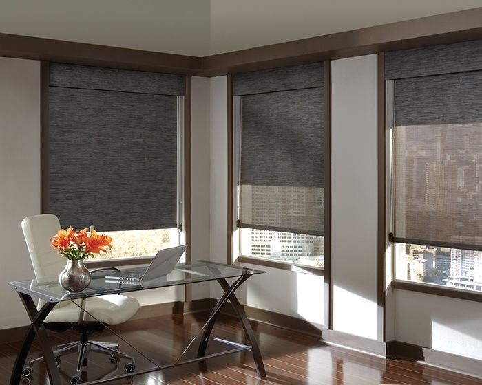 modern window treatments both aesthetic and practical, a home office that offers privacy or view QZKFPAG