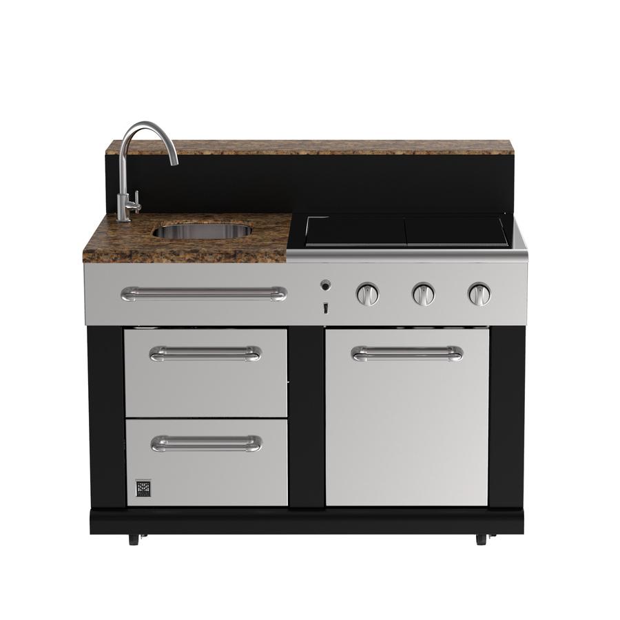 modular outdoor kitchens master forge 3-burner modular outdoor sink and side burners PWPDHTX