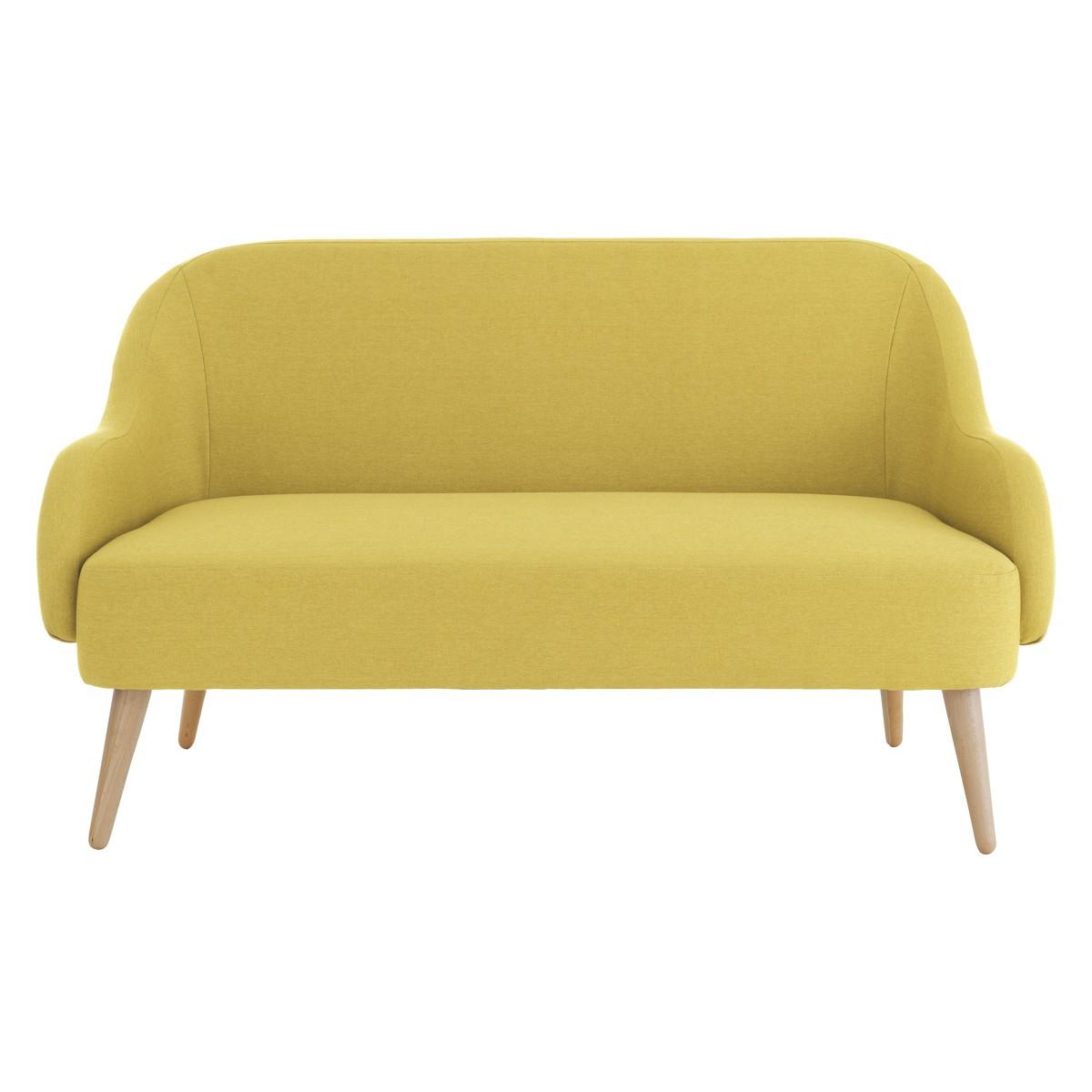 momo saffron yellow fabric 2 seater sofa IPBQNXB