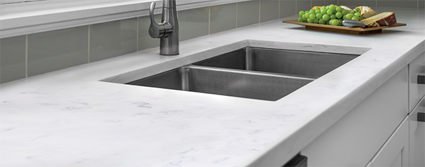 mystera® solid surface offers striking designs for practical performance.  from the bold DHTBWHW