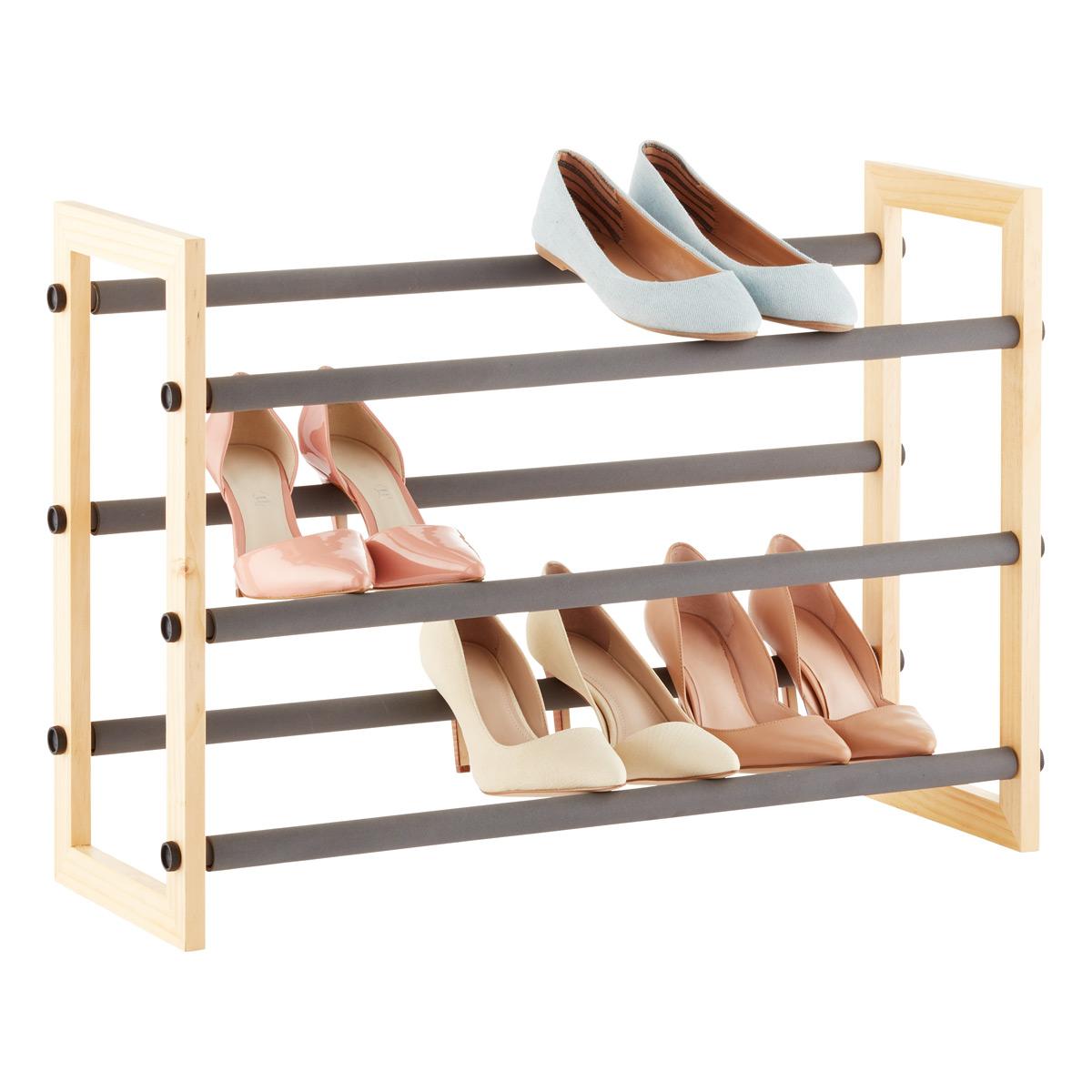 natural 3-tier grippy shoe rack CEXSZJS