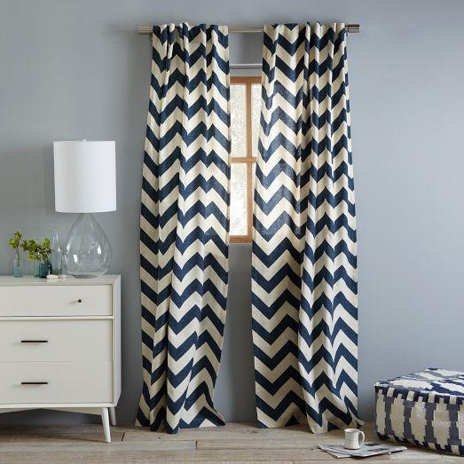 navy blue and white chevron curtains | window treatments - cotton canvas HICZBFW