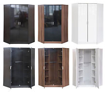 new high gloss 2 door corner wardrobe with hanging rails and shelves in AUAAPHQ