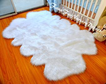 new special design quad sheepskin pelts cute baby shaggy faux fur rug true LIRUZWG