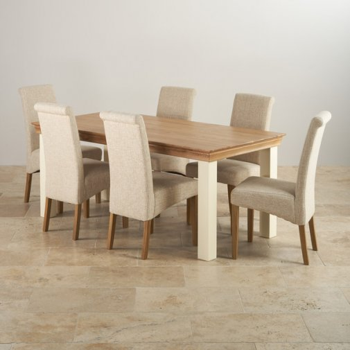 oak dining sets custom delivery country cottage natural oak and painted dining set - 6ft HQVEGOT