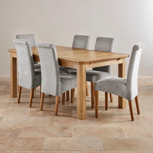 oak dining sets custom delivery edinburgh natural solid oak dining set - 6ft extending table KXHMWZK