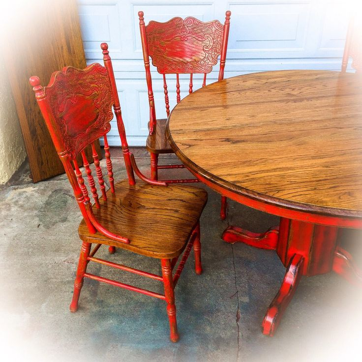 oak table and chairs farmhouse kitchen table and chairs w/ leaf, oak dining room table, red, FOFPSRA