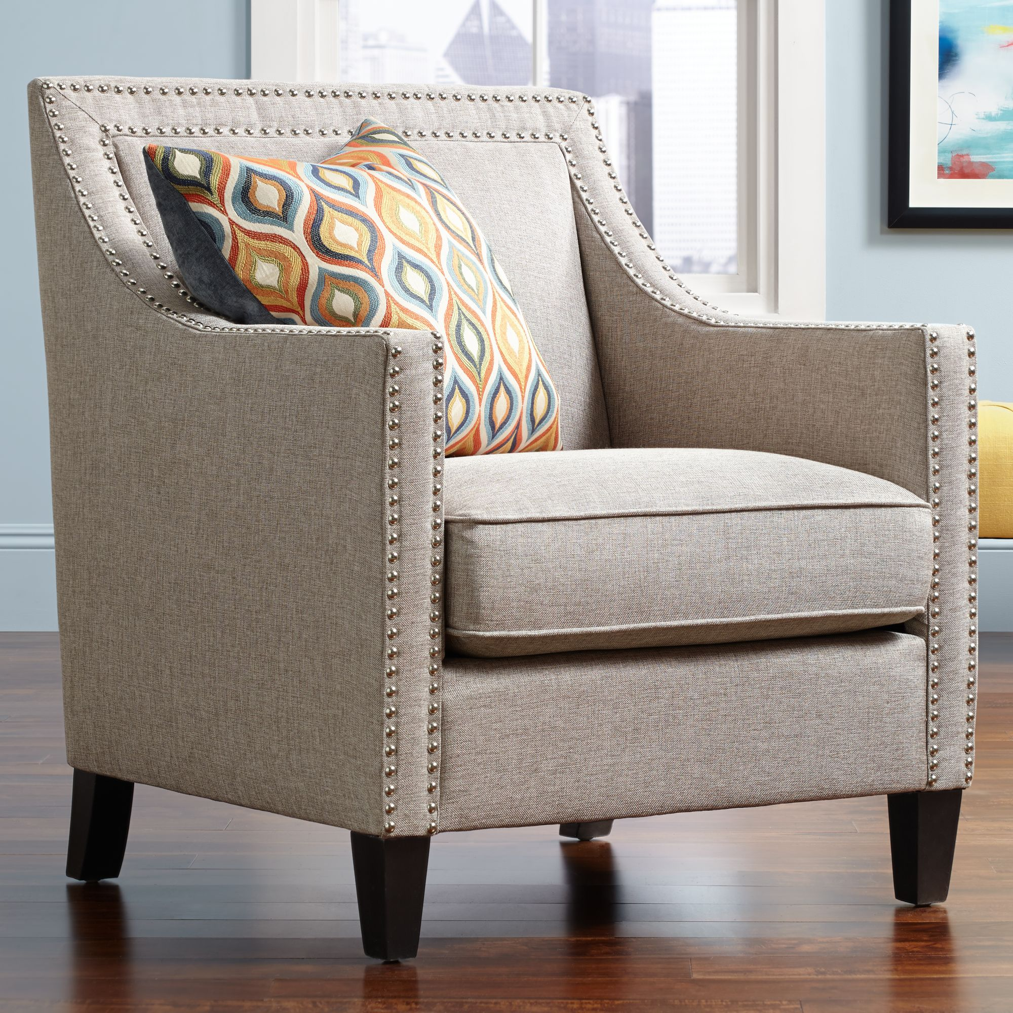 occasional chairs flynn heirloom gray upholstered armchair TEKHYFU