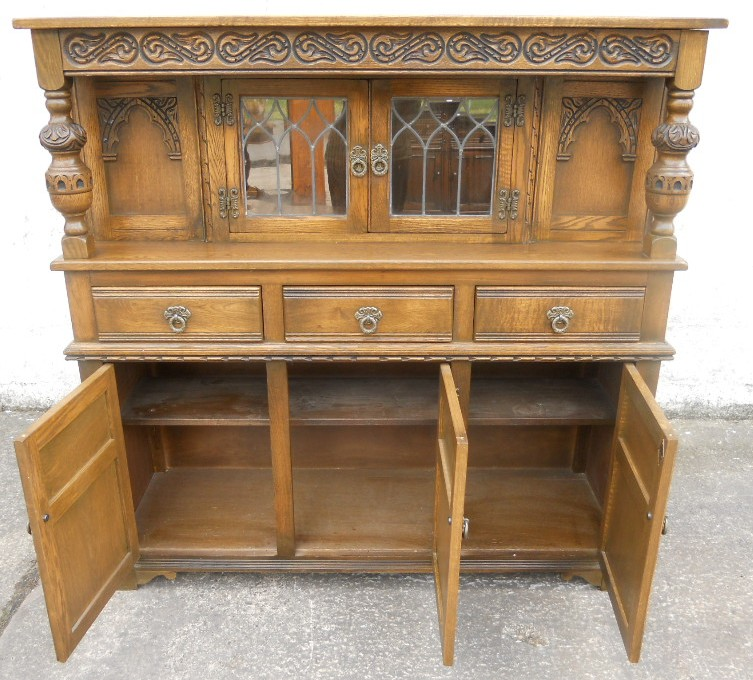 old charm furniture old charm oak antique jacobean style court cupboard - sold WWAZOGO