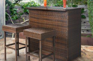 Outdoor bar set 3pc wicker bar set patio outdoor backyard table u0026 2 stools rattan garden RYWSLRE