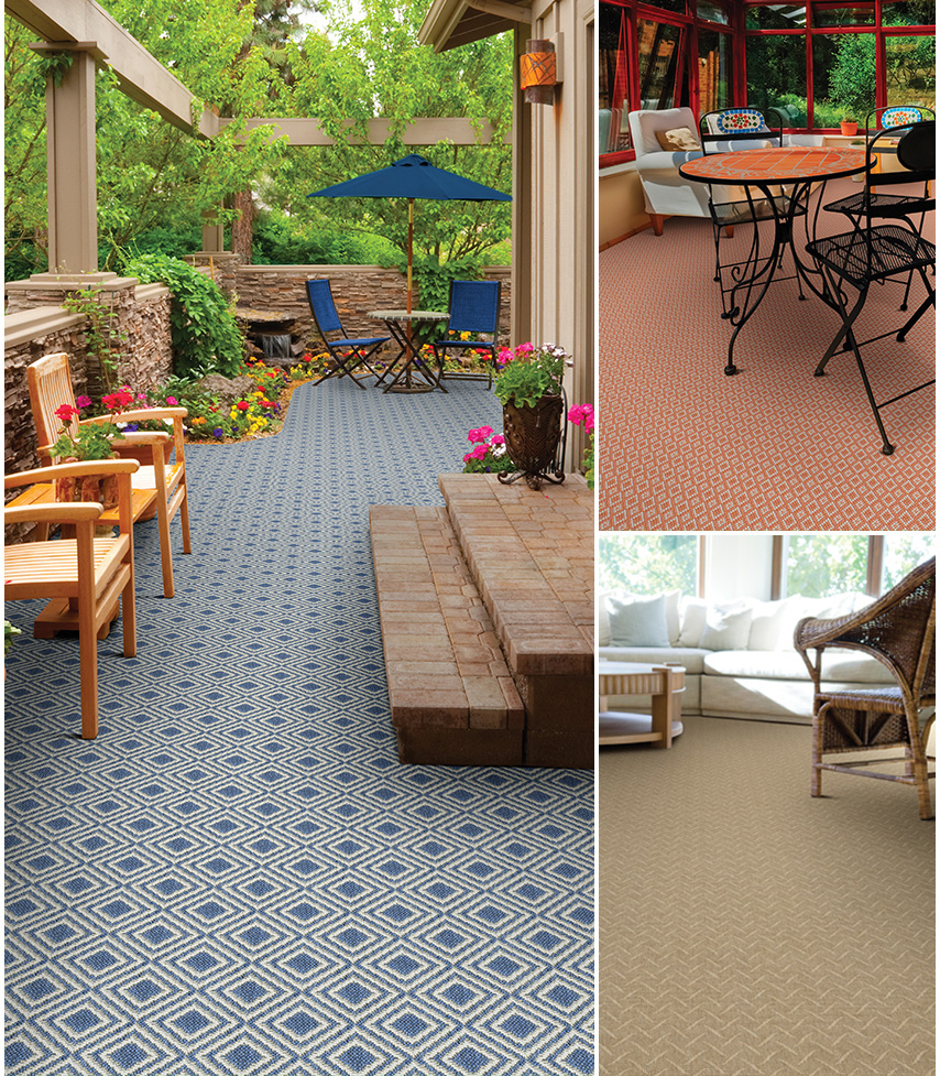 outdoor carpet stocked in a 13u00272u201d width for ease of installation, our indoor/outdoor  carpets KOFRUBV