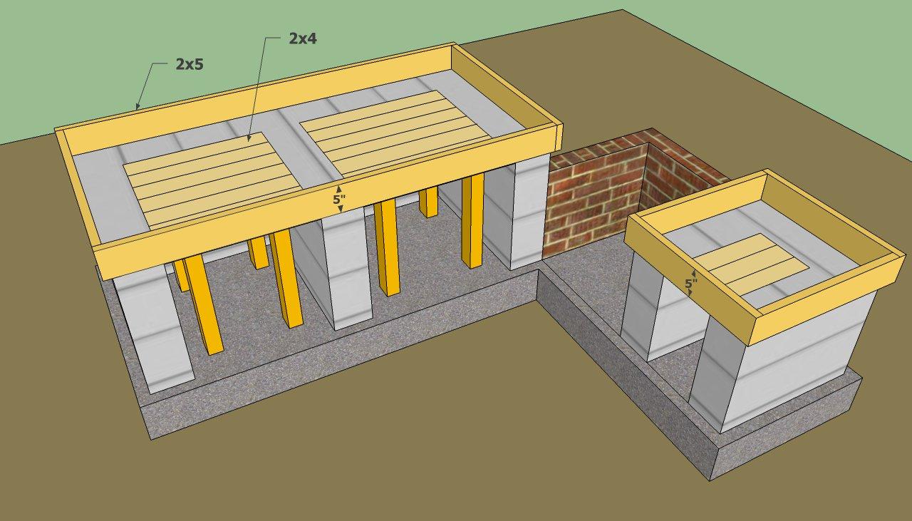 outdoor kitchen plans countertop formwork THUCXDA