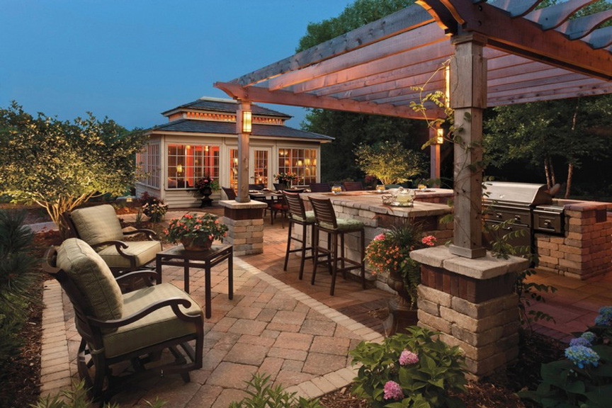 outdoor living outdoor kitchen by unilock at benson stone co. in rockford, il MYVNKJO