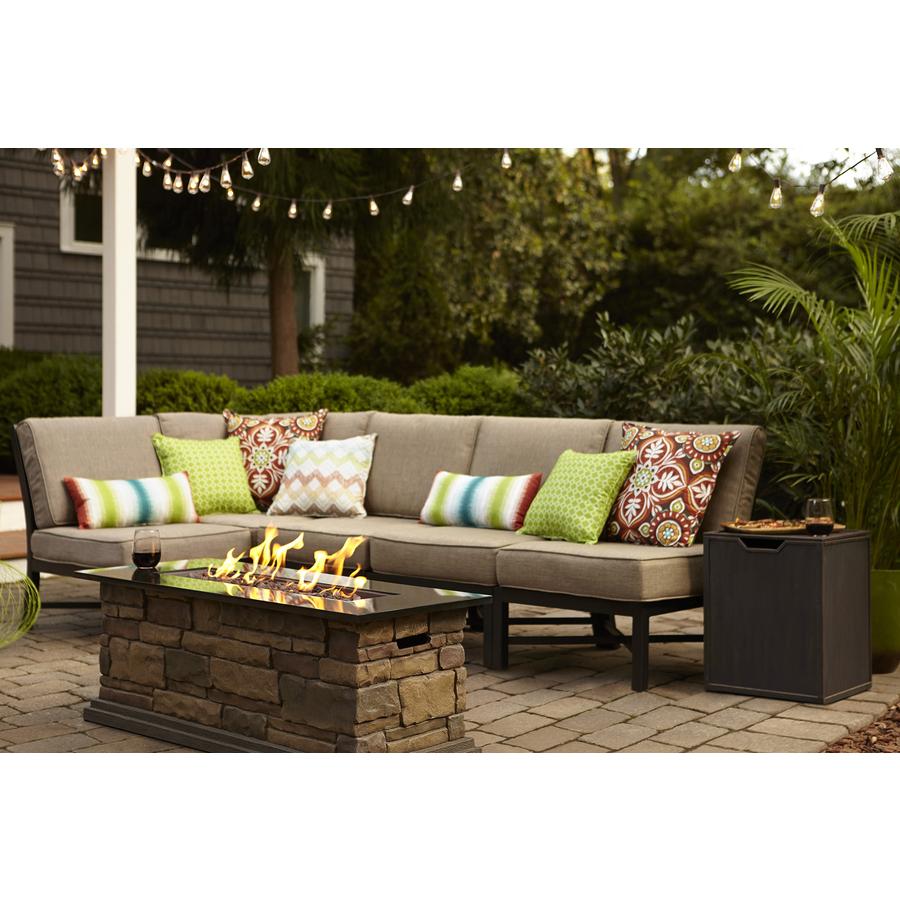 outdoor patio furniture sets garden treasures palm city 5-piece black steel patio conversation set with  tan MEEVORH