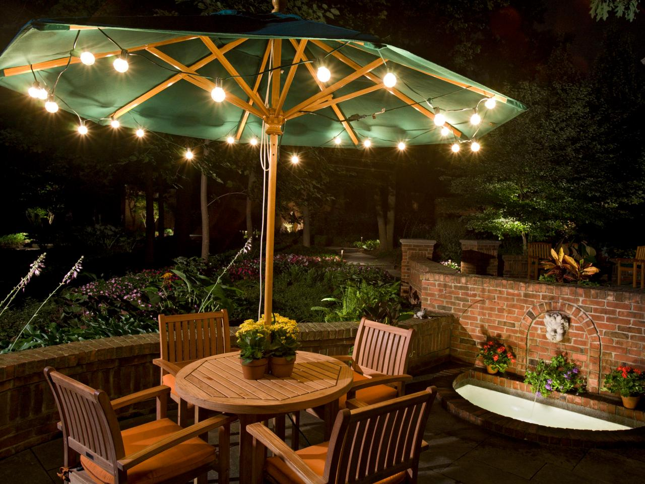 outdoor patio lights under an umbrella. inexpensive party lights give patio ... IPOXLAZ