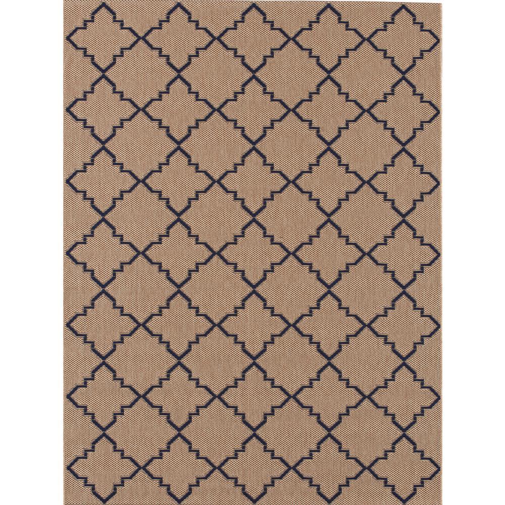 outdoor rug hampton bay moroccan tile beige/navy 7 ft. 10 in. x 10 ft. indoor/outdoor SXEFVPC