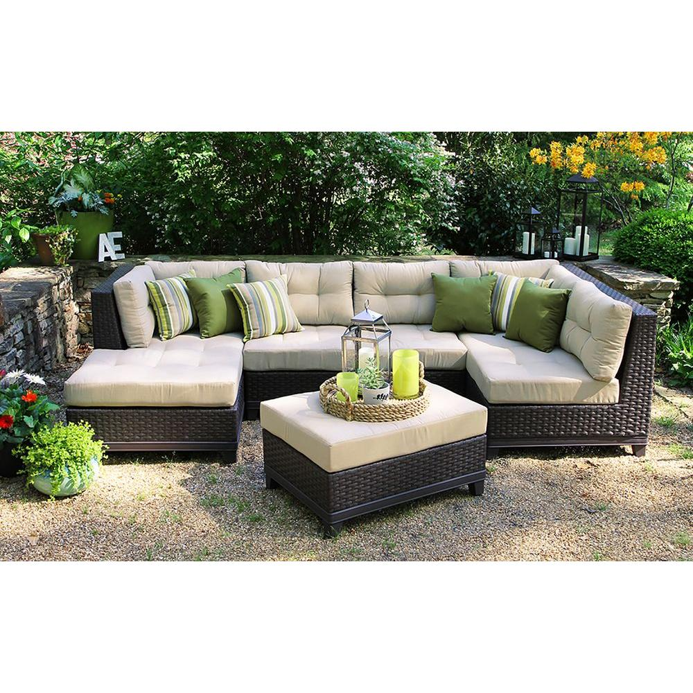 outdoor sectional hillborough 4-piece all-weather wicker patio sectional with sunbrella fabric NNZBNKI