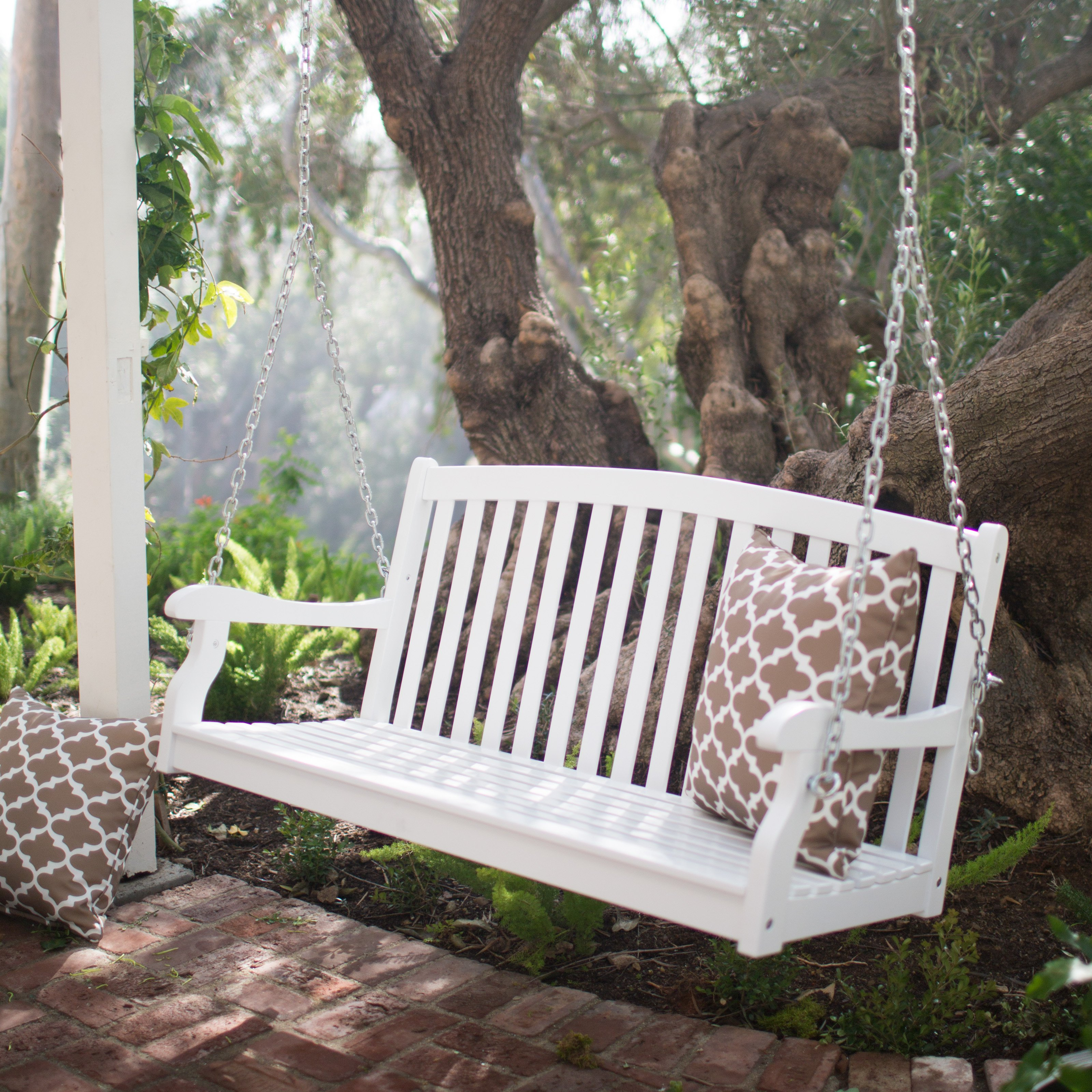 outdoor swings coral coast pleasant bay white curved back porch swing with optional  cushion YQCIPAX