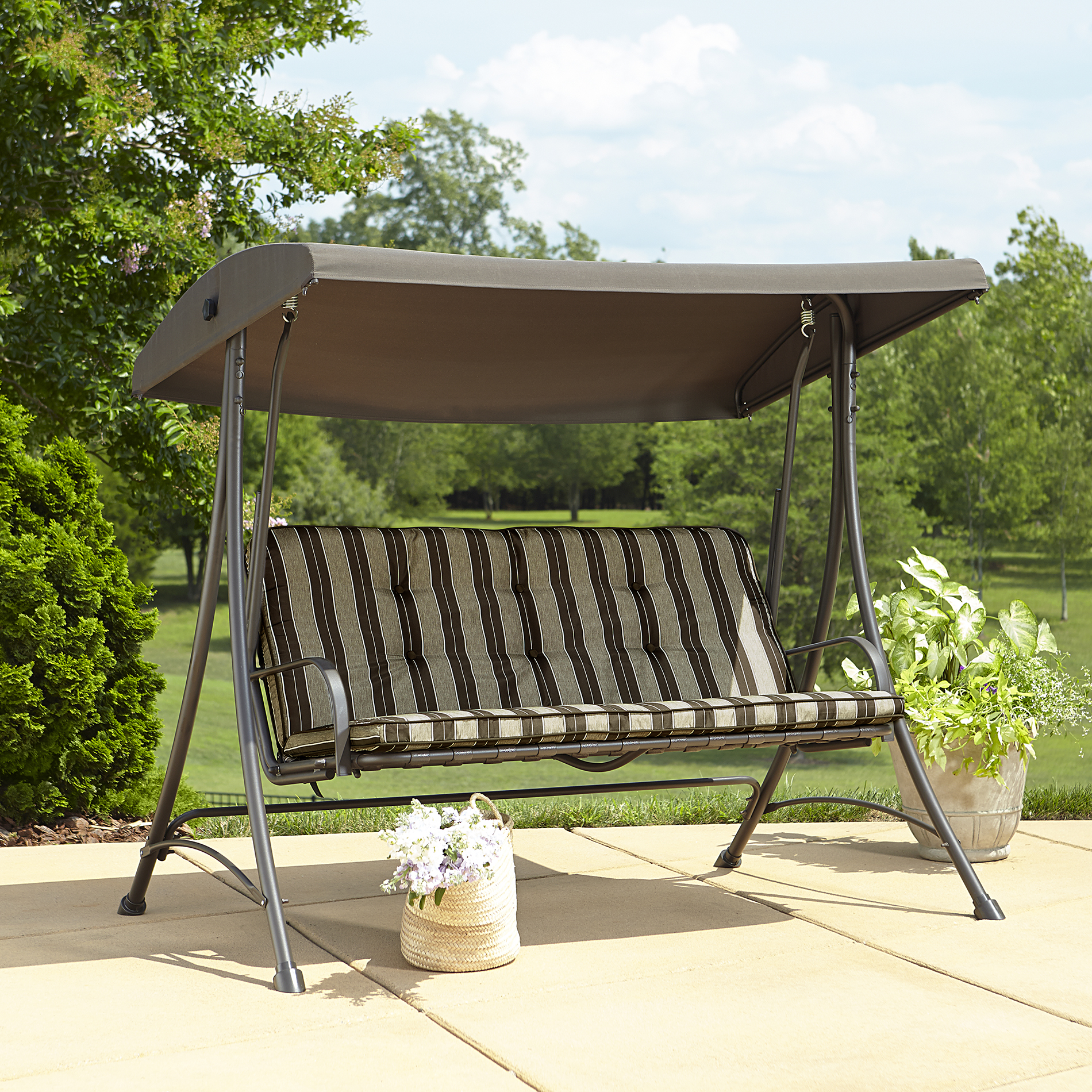 outdoor swings garden oasis 3-seat swing with canopy AFJTDBT