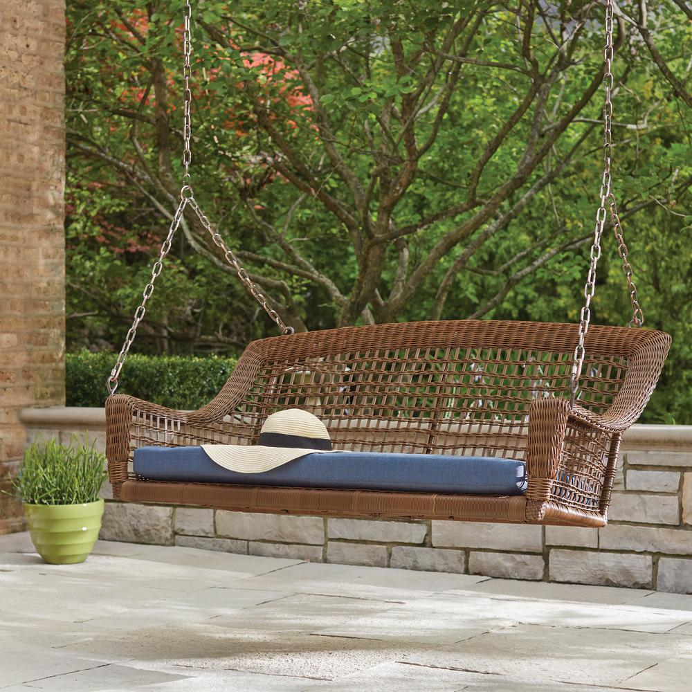 outdoor swings spring haven brown 2-person wicker outdoor swing with blue cushion MRZLXGU