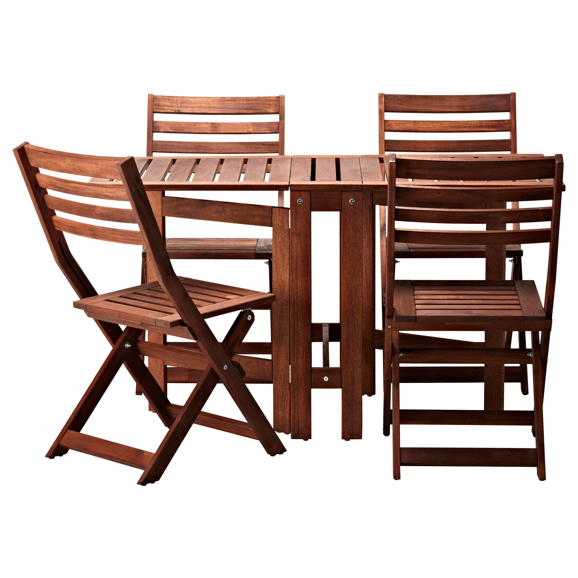 outdoor table and chairs äpplarö table and 4 folding chairs, outdoor, brown stained brown QQFYZMZ