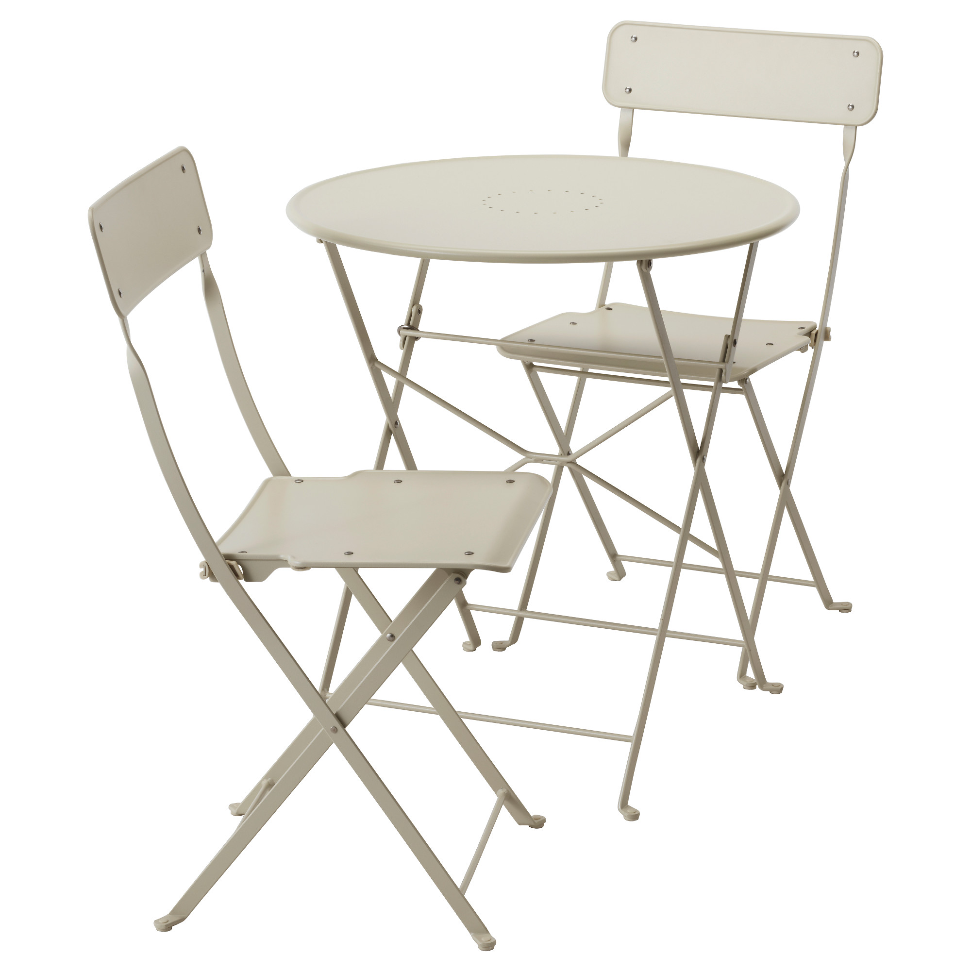 outdoor table and chairs saltholmen table and 2 folding chairs, outdoor, beige UOXSQWE