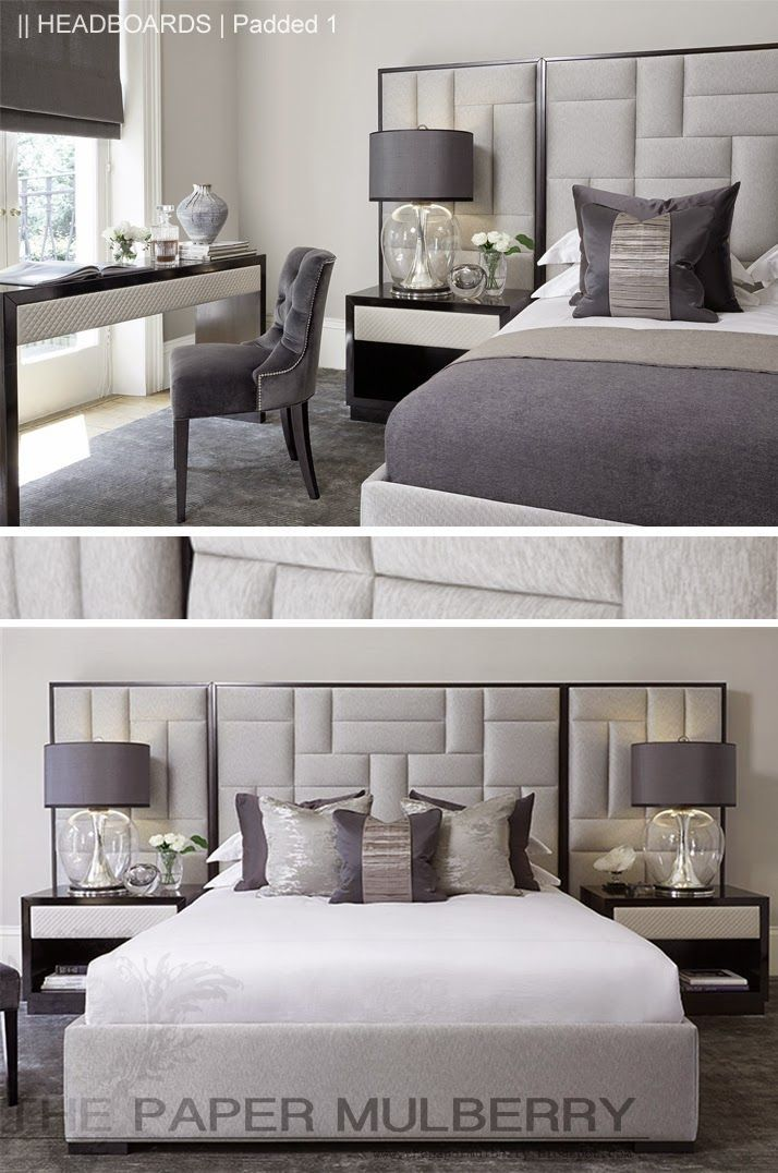 padded upholstered headboard in shades of grey || the paper mulberry: || BVLEYXI