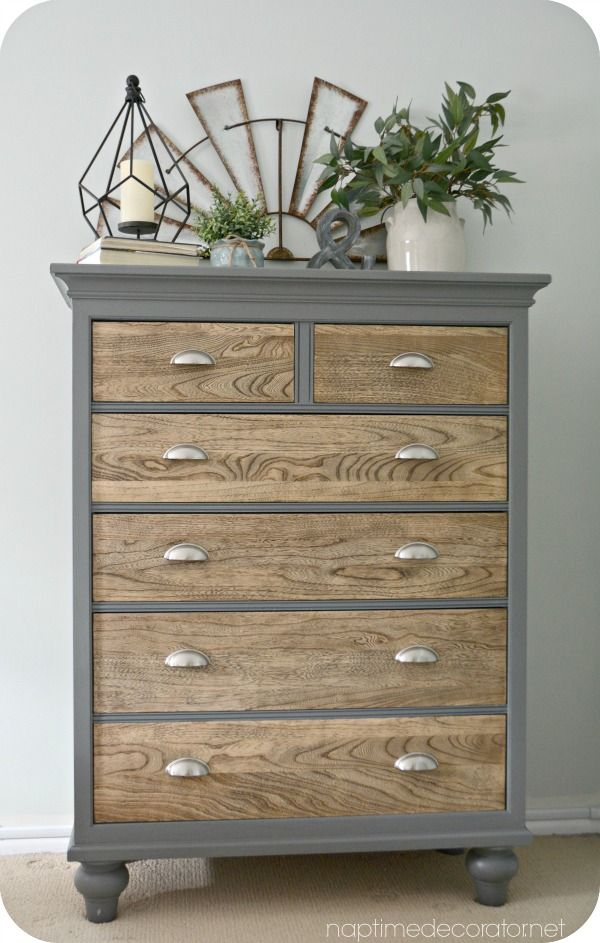 painted furniture ideas dresser makeover - natural wooden drawers with upcycled grey painted outer  frame- YZTHEDG