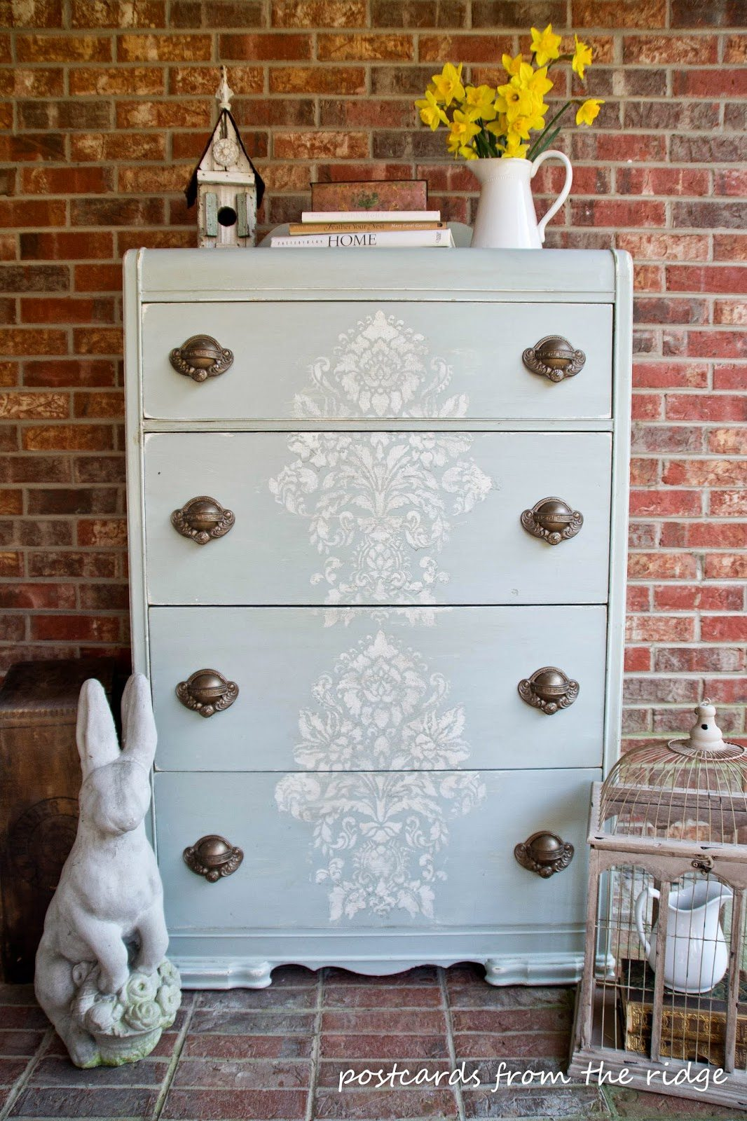 painted furniture ideas stenciled chest of drawers with postcards from the ridge HPXHDDA