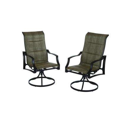 patio chairs statesville padded sling swivel patio dining chair ... PKINRLX