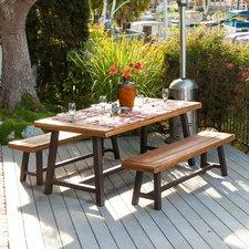 patio dining set bartlesville rustic metal 3 piece dining set VRCUNET