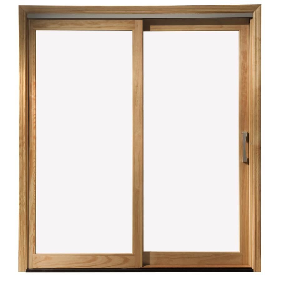 patio doors pella 450 series 71.25-in clear glass white wood sliding patio door LOTYWLT
