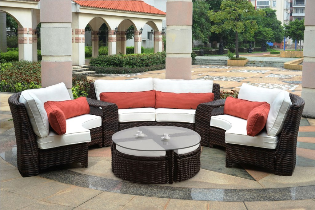 patio furniture clearance ... dark brown and white rectangle modern rattan patio table and chairs SGMQOYN