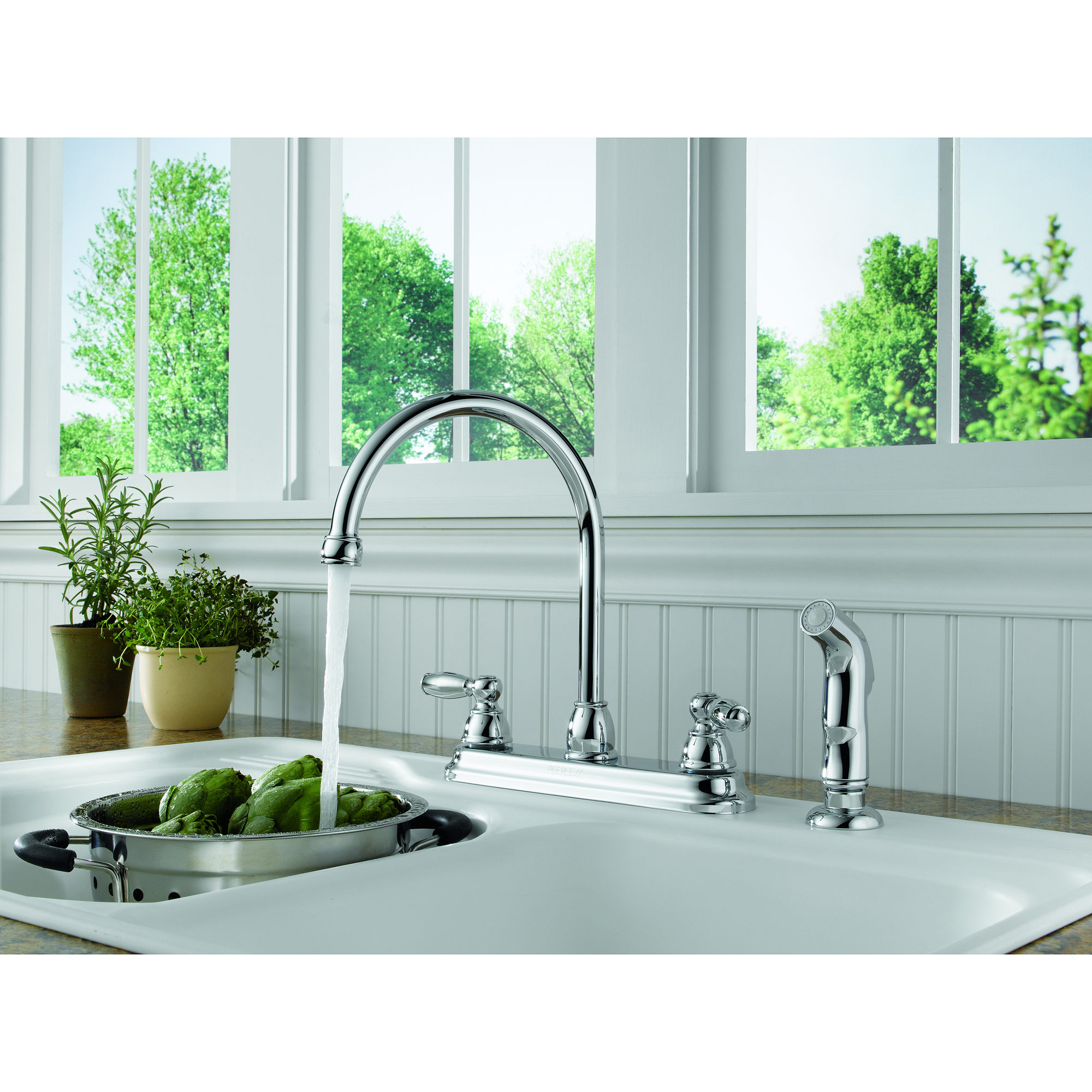 peerless two-handle kitchen faucet with side-sprayer, chrome, #p299575lf-w  - walmart.com QWFKVCQ