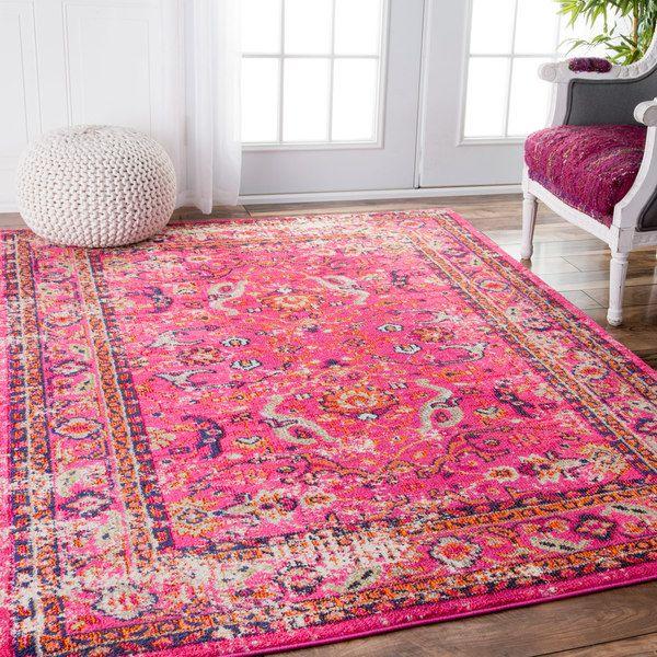 pink rugs 237.99 (5x7) nuloom traditional vintage floral distressed pink rug (5u00273 x BQUWWBP