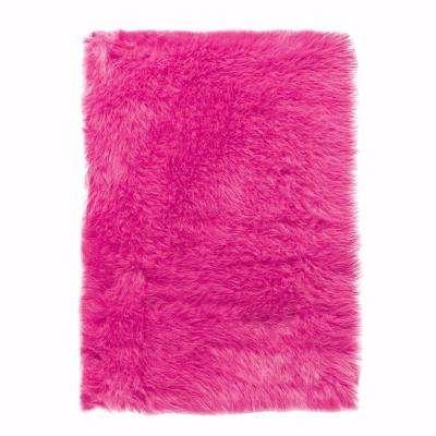pink rugs faux sheepskin hot pink 4 ft. x 6 ft. area rug ZEGUKIH