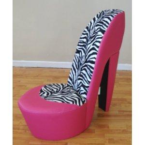 pink u0026 zebra stiletto / shoe / high heel chair animal print CKOSREH
