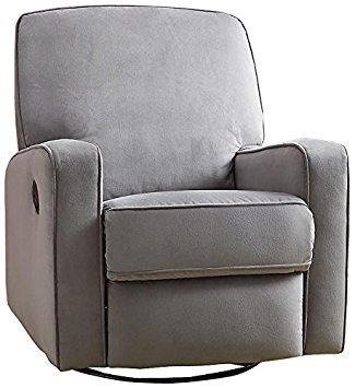 pulaski sutton swivel glider recliner, zen grey with stella piping ARDWWXP