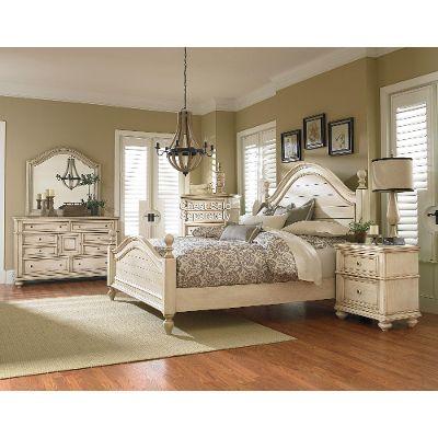 queen bedroom sets antique white 6-piece queen bedroom set - heritage PCWWBVC