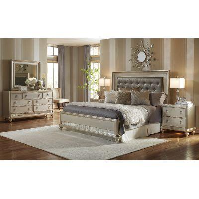 queen bedroom sets champagne 6-piece queen bedroom set - diva KFXNVGK