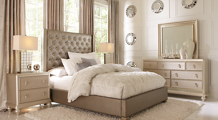 queen bedroom sets sofia vergara paris silver 5 pc queen upholstered bedroom ZNBWGPC