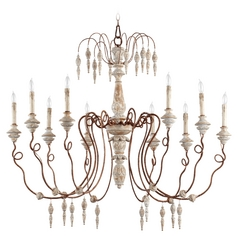 quorum lighting la maison manchester grey w/ rust accents chandelier GUHAWEX